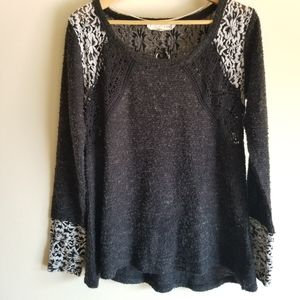 A'REVE Long Sleeve Sweater with Lace Design